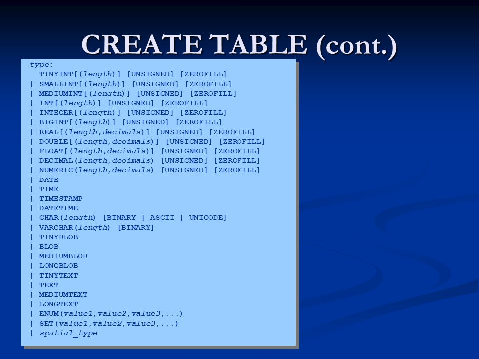 CREATE TABLE (cont.) type: TINYINT[(length)] [UNSIGNED] [ZEROFILL]